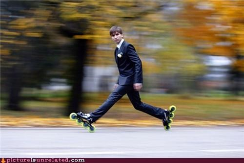 dressing up Photo rollerblades time travel tuxedo wtf - 3432404224