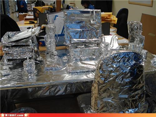 aluminum foil,boredom,cubicle boredom,cubicle prank,cubicle rage,decoration,desk,dickheads,foil,hardware,mess,prank,pwned,recycle,sass,screw you,sculpture,sharing is caring,t1000,terminator,tinfoil,wasteful,wrapping