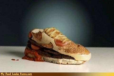 burgers and sandwiches,cheese,hamburger,ketchup,laces,meat,shoe,shoes