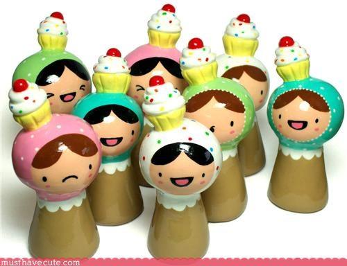 art cupcakes figurine hats people statues - 3437025280