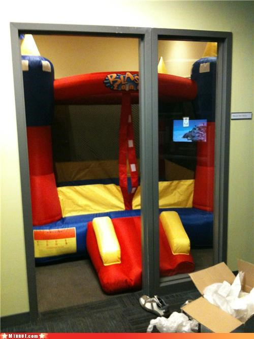 awesome boredom bounce bouncy castle bouncy room castle childhood clever creativity in the workplace cubicle boredom cubicle prank escapism jump jump around play playground prank pwned regression sass sculpture sneaky TGIF therapy wiseass work smarter not harder