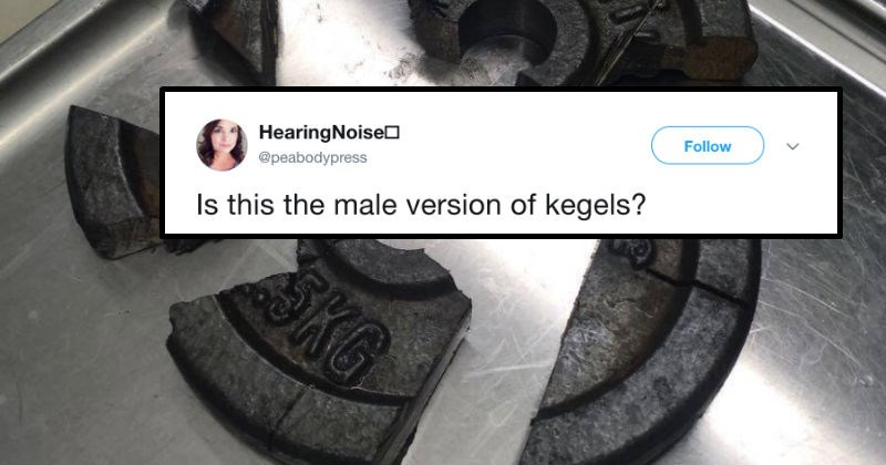 Internet has tons of hilarious questions after some guy gets his junk stuck in weight plate at the gym.