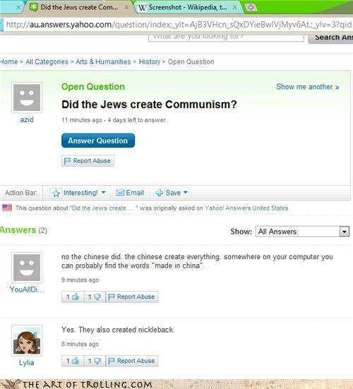 communism,hitler,jews,nickelback,Yahoo Answer Fails