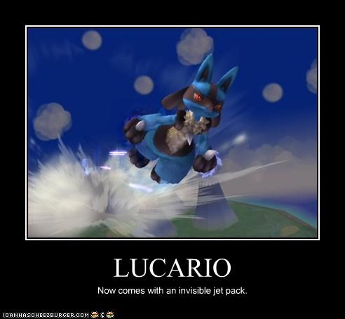 LUCARIO Now comes with an invisible jet pack.