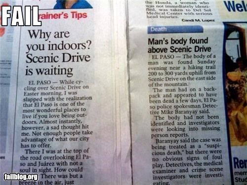 Newspaper Fail. Yes, these were actually printed side by side in the local newspaper.