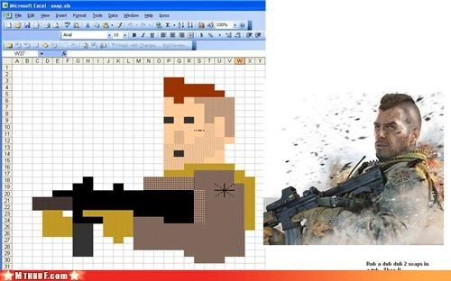 art,boredom,clever,creativity in the workplace,cubicle boredom,depressing,dying alone,excel,excel art,filling little cells with color,not awesome,paint by number,pixel art,quit your job and ride the rails,ridiculous,Sad,screw you,spreadsheet,unoriginal