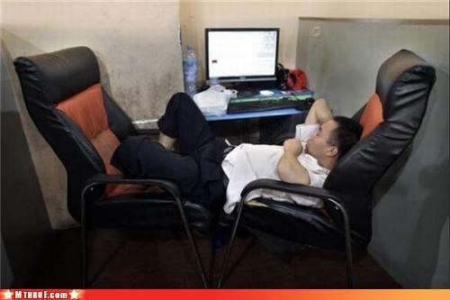 awesome co-workers not boredom busted chair bed chairs creativity in the workplace cubicle boredom cubicle fail depressing dickhead co-workers drool ergonomics hardware hump day ingenuity lazy lube Man Child nap nap time prone Sad sleepy unflattering work smarter not harder