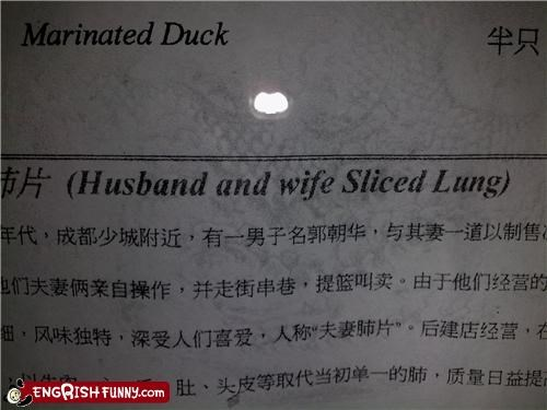delicious,duck,husband,menu,wife