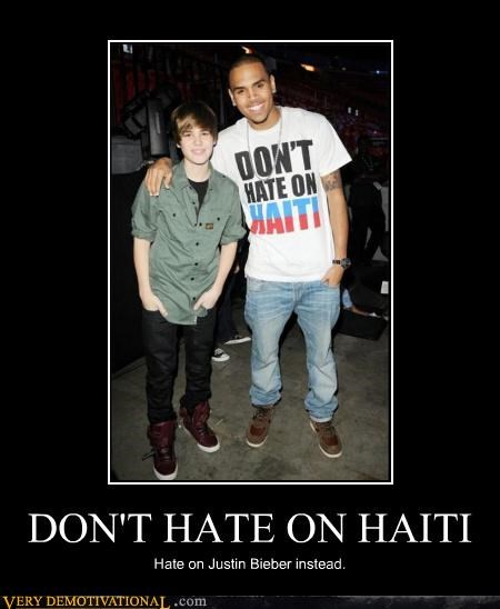chris brown,haiti,hate,just-kidding-relax,justin bieber,Music,they hating