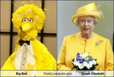 big bird politician Queen Elizabeth II royalty Sesame Street TV - 3442910464