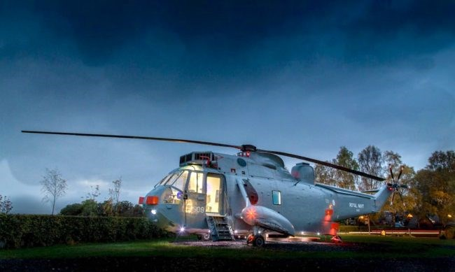 Helicopter turned to tiny hotel room