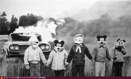 black and white,car,costume,disney,fire,kids,wtf