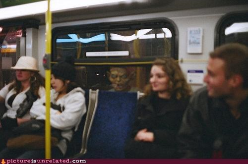 mask,monster,public transit,scary,wtf