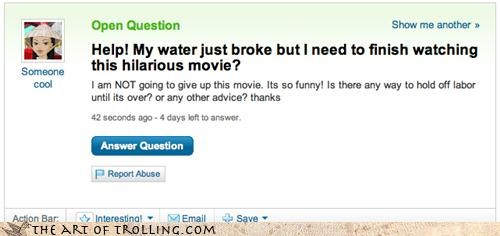hospital,movies,pregnant,water,Yahoo Answer Fails