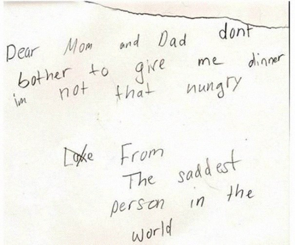 funny notes kids write to their parents