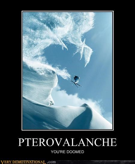 avalanche,dinosaurs,fear,impossible,pterodactyls,shopped,skiing,Terrifying