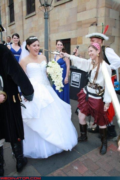 ahoy-matey,Crazy Brides,fashion is my passion,hijack,miscellaneous-oops,pirates,surprise,surprised bride,technical difficulties,walk the plank,wedding party,Wedding Themes