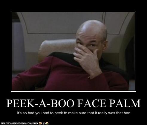 actor facepalm FAIL patrick stewart peekaboo sci fi Shatnerday Star Trek - 3447342848