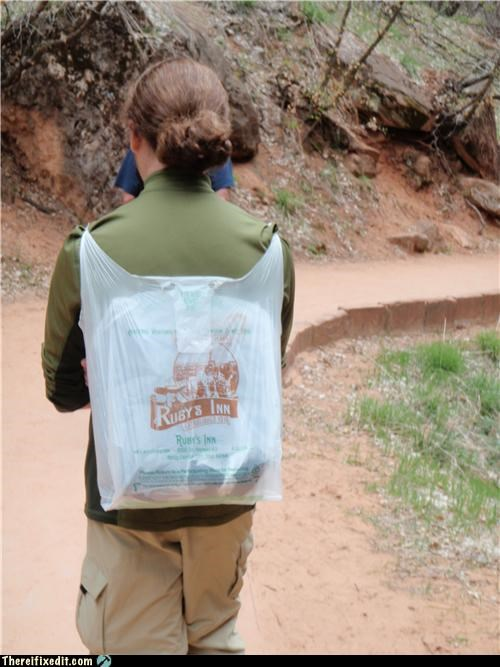 backpack,Hiking,plastic bag,recycling-is-good-right,vacation