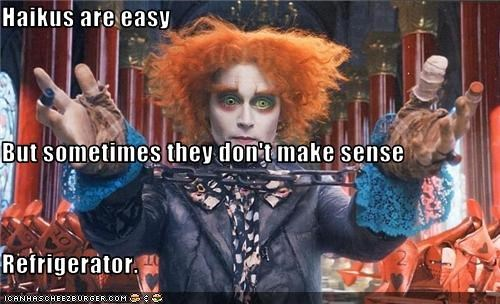 actor,alice in wonderland,haiku,Johnny Depp,Movie,nonsense,poetry,tim burton