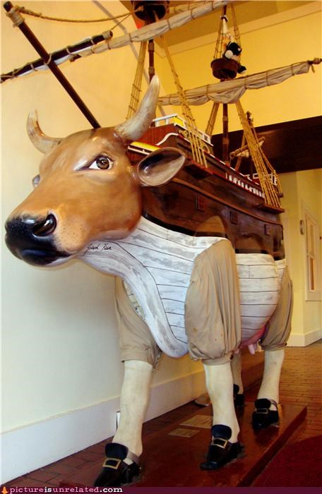 art boat costume cows history rewritten by cows or fans of cows pilgrims ship wtf
