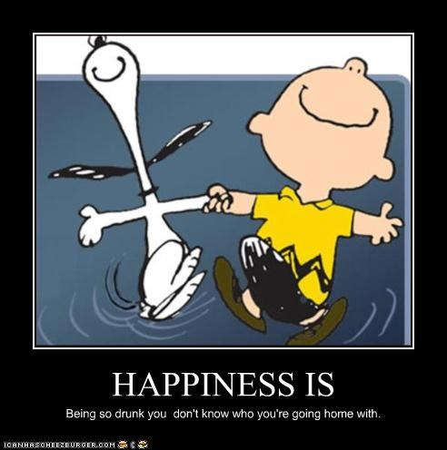cartoons,charlie brown,drunk,happiness,happy,peanuts,snoopy