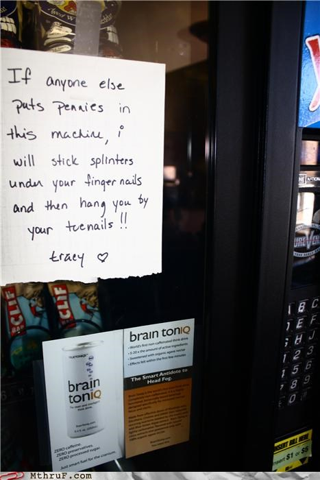 awesome co-workers not basic instructions batman cubicle rage depressing dickhead co-workers fridge battle fridge politics hardware hate office kitchen paper signs passive aggressive pennies rage sass screw you signage snacks vending machine wiseass - 3449625856
