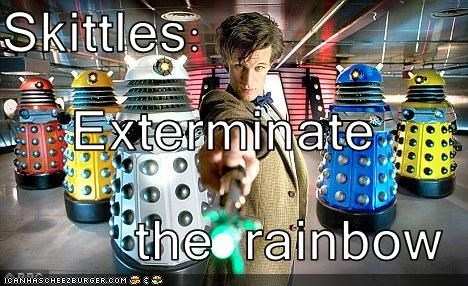 actor,candy,daleks,doctor who,Matt Smith,sci fi,skittles