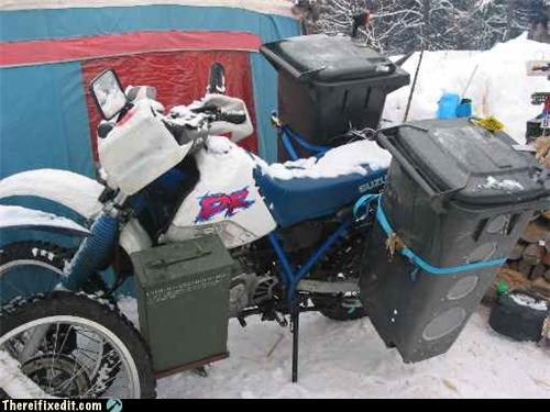 garbage can,hauling,Mission Improbable,motorbike,tied together