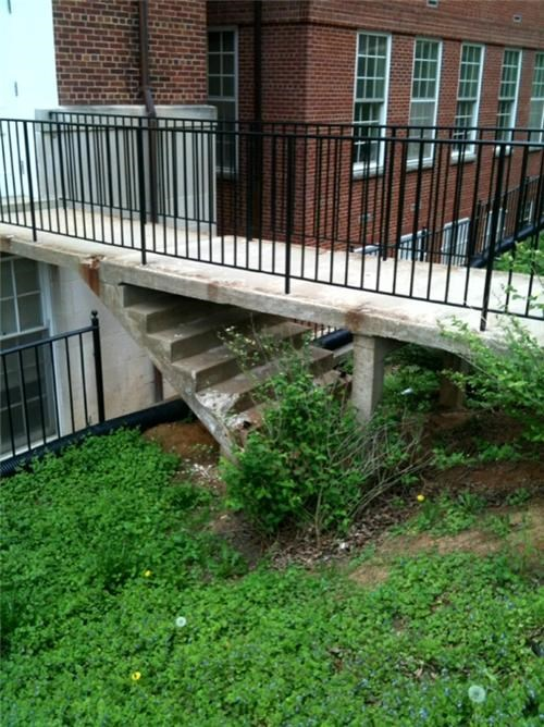 blocked off concrete recycling-is-good-right stairs walkway - 3452318720