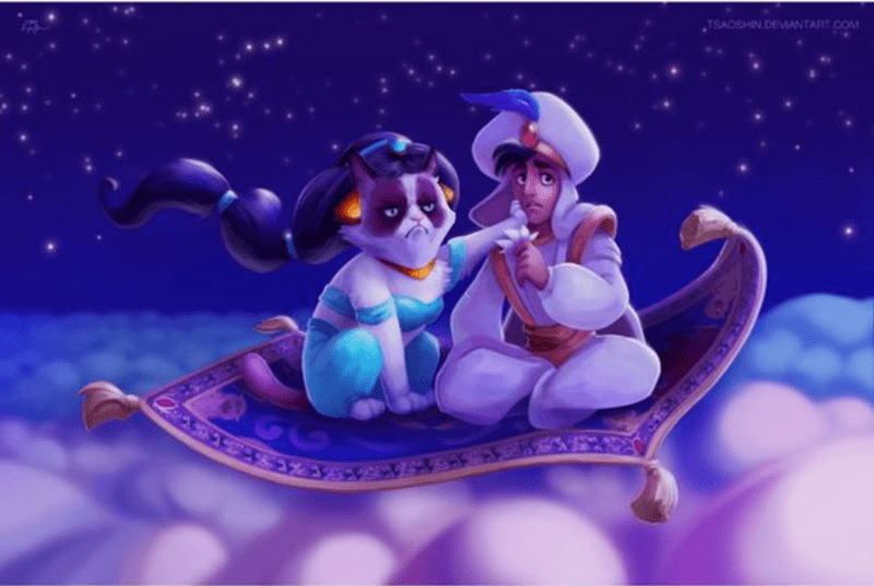 a funny list of grumpy cat as disney characters in disney movies and shows
