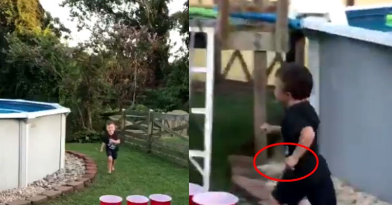 4-second clip of kid running around with knife shows off the terror of being a parent, raising a little one.