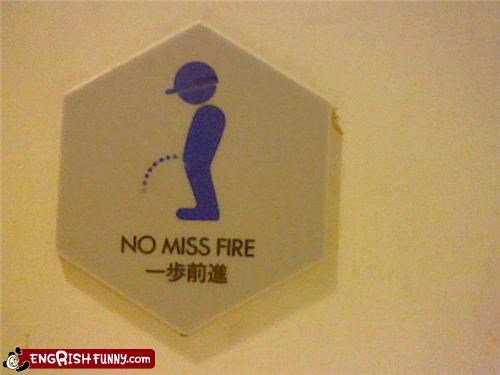 bathroom,fire,pee,sign