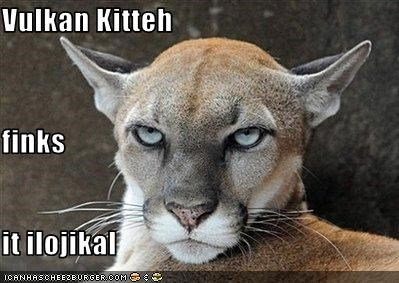 caption captioned cat catchphrase illogical lynx quote Spock Star Trek thinks Vulcan - 3455167488