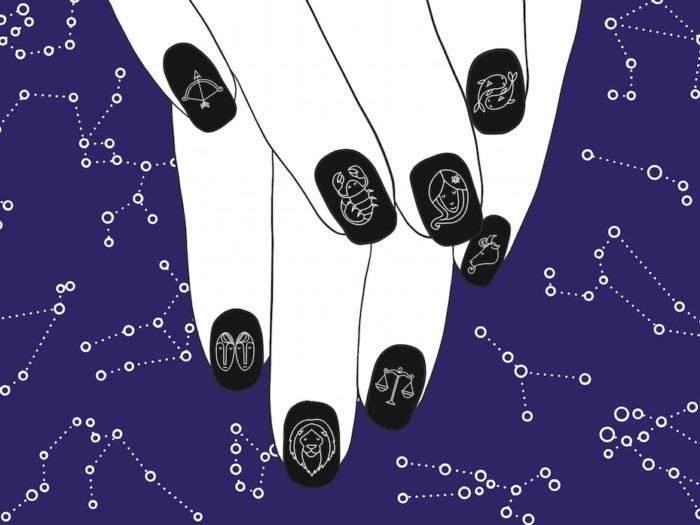 Nail art according to zodiac signs