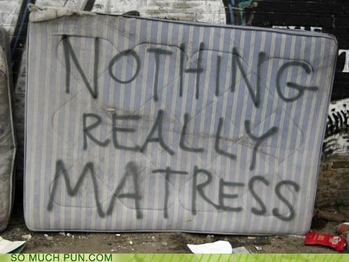 deep thought,garbage,graffiti,mattress
