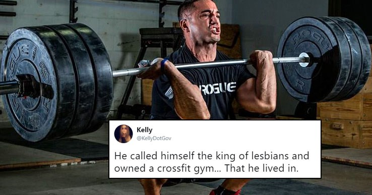 Funny tweets about the worst dates, ever cover photo is a crossfit guy who claimed to be the king of lesbians and lived in his own crossfit gym.