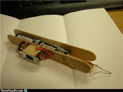batteries,desperation,lighter,popsicle stick