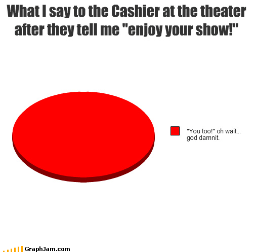 "What I say to the Cashier at the theater after they tell me ""enjoy your show!"""
