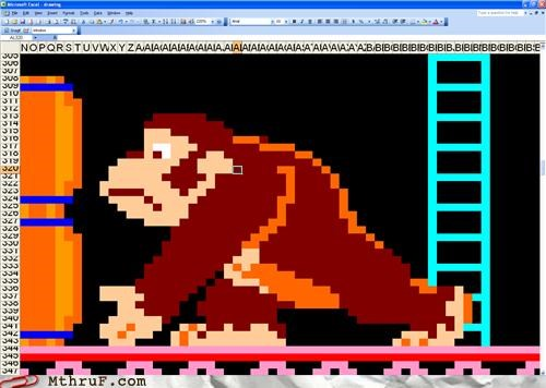 art,artwork,boredom,creativity in the workplace,cubicle boredom,decoration,depressing,dickheads,DK,donkey,donkey kong,excel,gorilla,idiot savant,kong,pixel art,Sad,spreadsheet,video game,wasteful