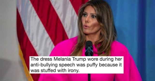 Twitter memes and reactions to Melania Trump's hot pink Delpozo dress from United Nations speech.