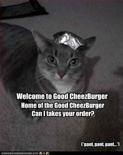 Welcome to Good CheezBurger Home of the Good CheezBurger Can I takes your order? (*pant, pant, pant...*)