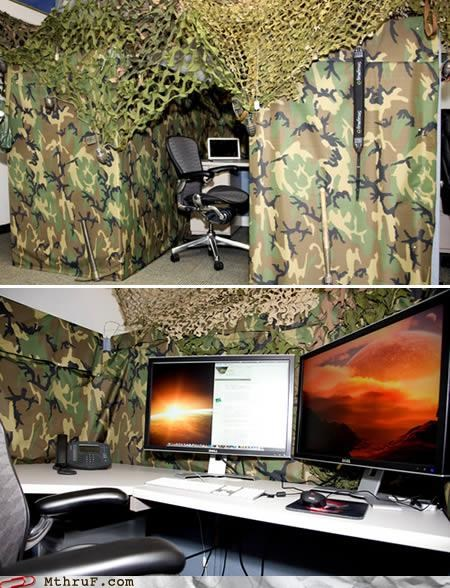awesome,boredom,camo,camouflage,creativity in the workplace,cubicle boredom,cubicle prank,decor,decoration,fort,go see a man about a horse,prank,remodel,sass,screw you,shovel,wiseass,wrapping