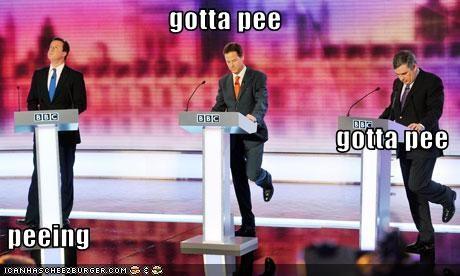 david cameron Debates gordon brown Nick Clegg pee UK - 3472156928