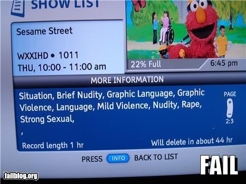 Elmo Fail The cable company has an odd description for sesame street