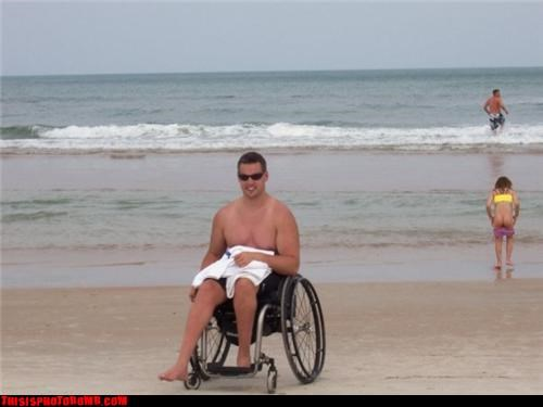 bathing suits,beach,beach party,butt,surprise,swim suit,wheelchair