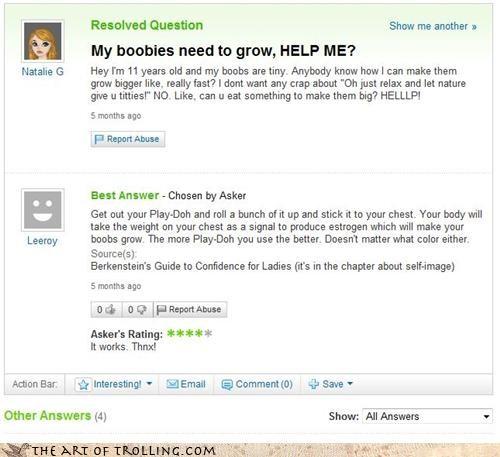 grow lady fun bags play-doh Yahoo Answer Fails - 3480436736