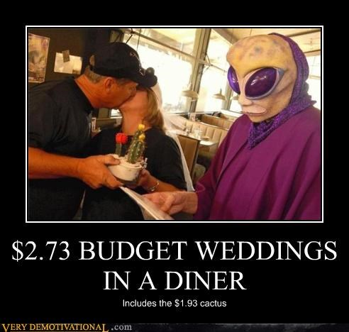 wedding diner money budget alien cactus