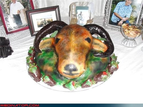 animal-head-grooms-cake,crazy groom,crazy-grooms-cake,Dreamcake,eww,funny-grooms-cake-picture,funny wedding photos,ram-grooms-cake,scary-grooms-cake,surprise,Wedding Themes,weird-grooms-cake,wtf