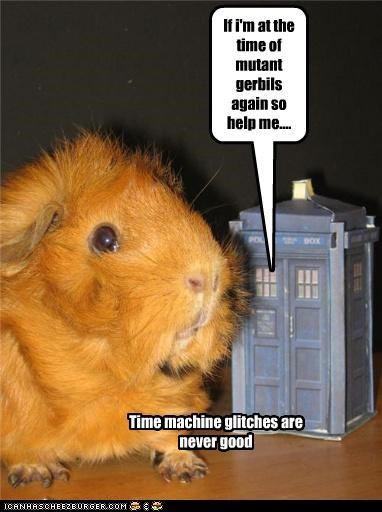 If i'm at the time of mutant gerbils again so help me.... Time machine glitches are never good